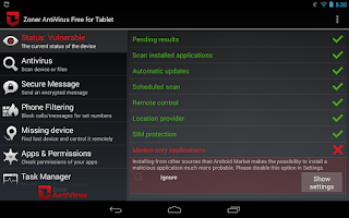 Screenshot of Zoner AntiVirus - Tablet