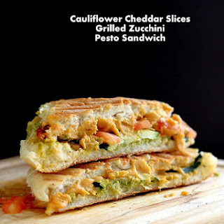 Cauliflower Cheddar Grilled Cheese with Zucchini Pesto Tomato