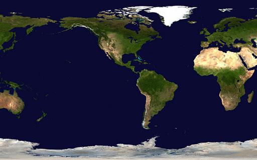 World map - US centered