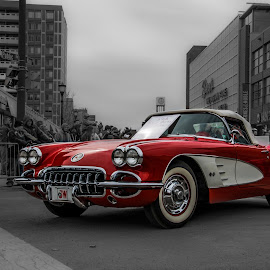Red, White and Black by Ameen Bokhari - Transportation Automobiles ( car, ksa, red, corvette, white, pennsylvania, usa, black, black&white, red car, saudi arabia )