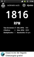 Screenshot of Acoustic Tachometer (RPM)