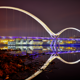 Infinity Blue  2 by Paul Telford - Buildings & Architecture Bridges & Suspended Structures ( paul, hdr, night, bridge, stockton on tees, telford, photography, infinity, river )