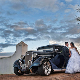 Jouney Begins by Deon Gurling - Wedding Bride & Groom ( car, wedding, sunset, bride, groom )