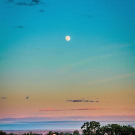 Harvest Moon by Will Ballew - Landscapes Prairies, Meadows & Fields ( farm, field, moon, sky, twilight )