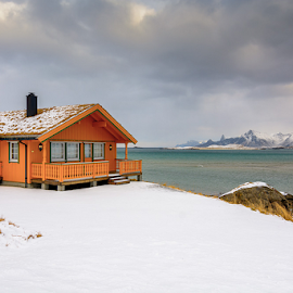 Lofoten's Lodge Grass Roof by Roberto Melotti - Buildings & Architecture Homes ( cabin, roberto melotti, fredvang, nikon d7100, lofoten islands, house, grass roof, lodge, norway,  )