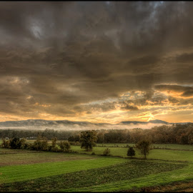 Sunset on Roundtop by Bruce Martin - Landscapes Cloud Formations ( clouds, fog, farms, sunset )
