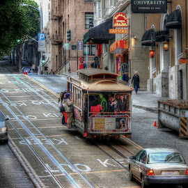 San Francisco Street by Edina Zsarnai - City,  Street & Park  Street Scenes ( edina zsarnai, street, bable car, lovely, happiness, town, beauty, fun, san francisco, photography,  )