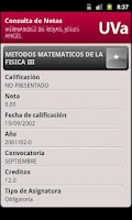 Screenshot of Consulta de Notas UVa