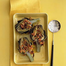 Steamed Artichokes with Grainy Mustard and Bacon Dressing