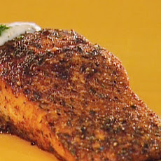 Blackened Salmon with Blue Cheese Sauce