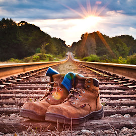 Let Me Get My Boots by Scott Cureton - Transportation Railway Tracks ( csx, railroad, red wing boots, train, sunrise, true friend )
