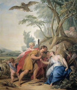 RIJKS: Jacob de Wit: Jupiter, Disguised as a Shepherd, Seducing Mnemosyne, the Goddess of Memory 1727