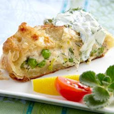 Salmon Wrapped in Pastry with Cucumber Sauce