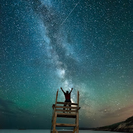 Milky Way Symphony by Aaron Priest - Landscapes Starscapes ( selfie, sand beach, workshop, maine, acadia national park, meteor, night, astrophotography, beach, night sky, milky way )