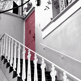 Door in Pink by Jody Frankel - Buildings & Architecture Architectural Detail ( railing, home, apartment, door, wrought iron, pink )