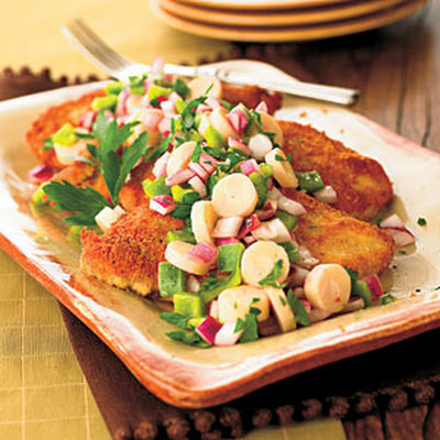 Crisp Chicken with Hearts of Palm Salad