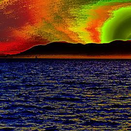Golden Gate in the zone by Jamie Valladao - Digital Art Places ( abstract, golden gate bridge, sunset, bridge )