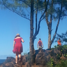 Hike with Dad by Melissa Keller - People Family ( water, hilo hawaii, fall colors, shoreline, trees, children, ocean, rocks, hiking, hike, father )