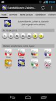 Screenshot of EuroMillions Nos. & Statistics