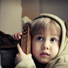 Kanga by Melanie Pista - Babies & Children Child Portraits ( child, sweet, kangaroo, beige, dress up, innocence )