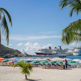 Cruises by Lynn  Fleishman - City,  Street & Park  Street Scenes ( royal caribbean, st maarten, saint maarten, sea, ships, disney, cruise, caribbean )