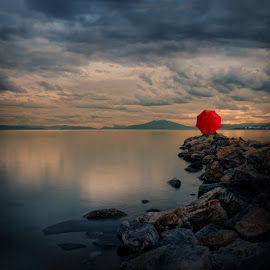 Ruddy night by George Leontaras - Digital Art Places ( hellas, mountain, red, volos, digital art, greece, glart, sea, night, manipulation, photoshop )