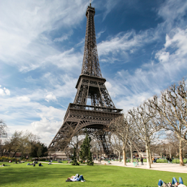 Parc du Champs-de-Mars by Howard Ferrier - City,  Street & Park  City Parks ( love, clouds, eiffel tower, paris, sky, tree, grass, parc du champs-de-mars, couple )