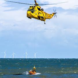 Rescue Helicopter & Boat by Dylan Barlow - Transportation Helicopters ( helicopter, north wales, wales, lifeboat, rescue, raf, rnli, cymru, llandudno )