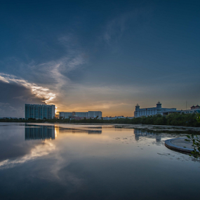 Sunset at Cancun  by Cristobal Garciaferro Rubio - City,  Street & Park  Vistas ( clouds, water, reflections, snset )