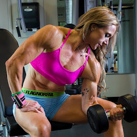 Concentration Curl by Nicole Lengling - Sports & Fitness Fitness ( fitness model, weight lifting, fitness, bodybuilding, exercise )