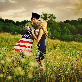 Sacrifice by Mirissa Grant - People Couples ( love, natural light, sky, air force, america, outdoors, american flag, engagement, couples )