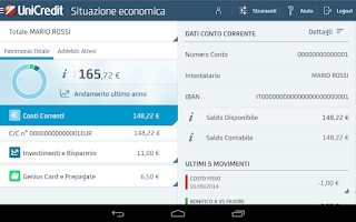 Screenshot of Mobile Banking per Tablet
