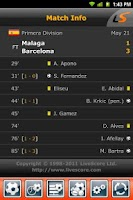 Screenshot of LiveScore