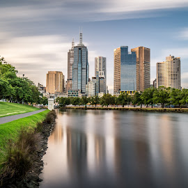 Melbourne City View across south Yarra by Zubair Aslam - City,  Street & Park  Skylines ( south yarra, yarra river, melbourne, melbourne city, long exposure, yarra, day time, river )