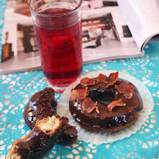 Spiced Doughnuts With Dark Chocolate Glaze & Candied Bacon