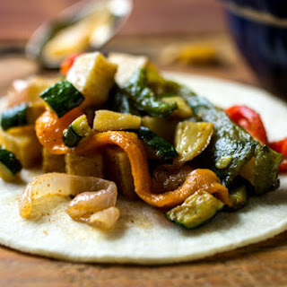 Tacos with Roasted Potatoes, Squash and Peppers (Rajas)