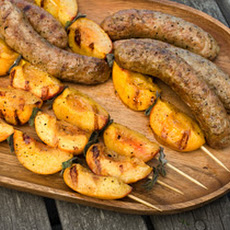 Grilled Chicken Sausages with Peach-Sage Skewers Recipe