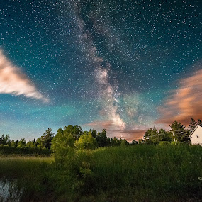 Milky Way and moonrise in my back yard, Lee, Maine, June 20, 201 by Aaron Priest - Landscapes Starscapes ( sky glow, lee, maine, stars, astrophotography, night, pond, milky way, moonrise )