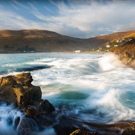 Taylors Mistake Dawn #2 by Martyn Cook - Landscapes Waterscapes ( canterbury, waves, shoreline, banks peninsula, sea, seascape, rocks, new zealand, coast )