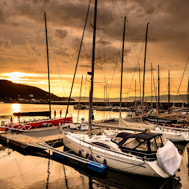 A sunset by the docks by Catalin Tibuleac Fotografie - City,  Street & Park  Vistas ( water, sky, sailing, sunset, boats, trondheim, reflections, docks, sun, norway )