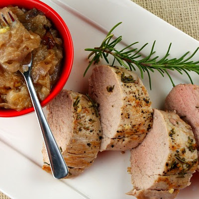 Herb- Crusted Pork Tenderloin w/ Red Onion Jam