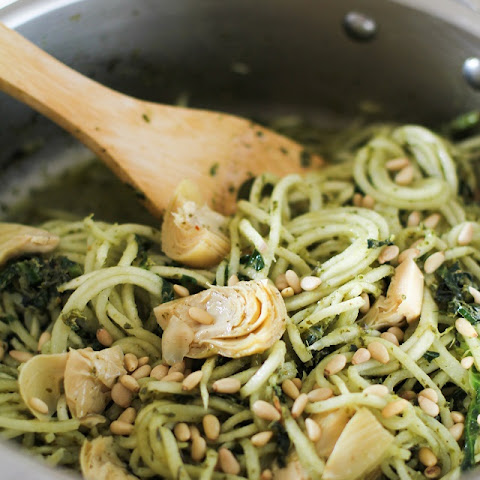 Turnip Pesto Pasta with Artichoke Hearts and Kale