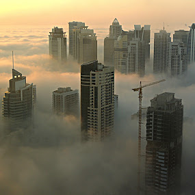 Foggy Dubai Morning by Tamsin Carlisle - Landscapes Weather ( dawn, towers, dubai, fog, skyscrapers, buildings, cloud, morning, , golden hour, sunset, sunrise )