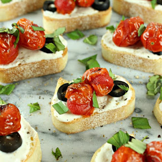Easy Greek Crostini with Garlic Whipped Feta & Blistered Cherry Tomatoes