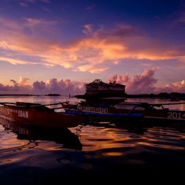 Floating by Ferdinand Ludo - Transportation Boats ( cebu city, two fishing boats, cordoba, mactan island, banca as they name it )