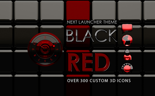 Next Launcher Theme black red - screenshot