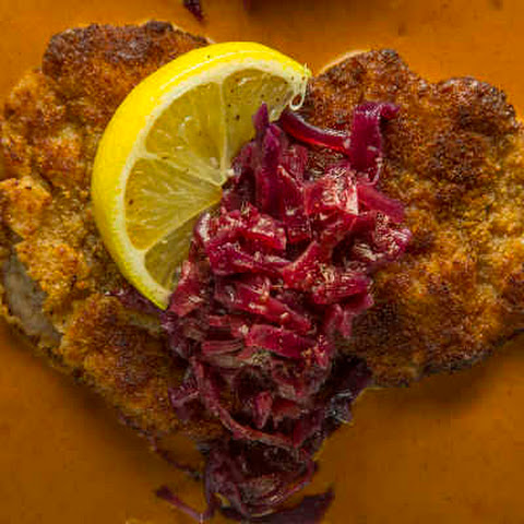 Pork Schnitzel with Slow-Braised Cabbage and Paprika-Cream Sauce