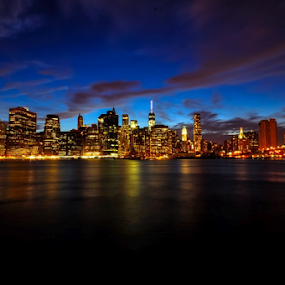 Sunset at Manhattan by Somsubhra Chatterjee - City,  Street & Park  Skylines ( manhattan skyline, sigma, nikon  d90, new york, nyc, 10-20mm )