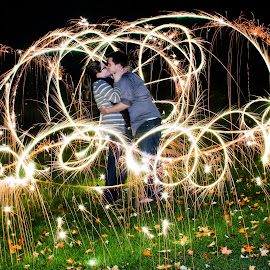 Cinderella's Carriage  by Emily Buska - People Couples ( kiss, light painting, night, sparklers, couples,  )