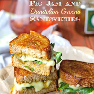Grilled Brie, Fig Jam and Dandelion Greens Sandwiches